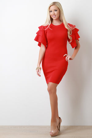Red Tiered Ruffled Sleeve Ribbed Knit Mini Dress