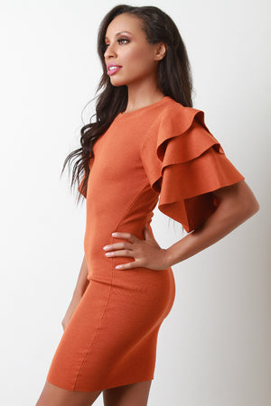 Orange Tiered Ruffled Sleeve Ribbed Knit Mini Dress Close Up
