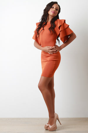 Orange Tiered Ruffled Sleeve Ribbed Knit Mini Dress