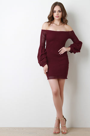 Burgundy Fishnet Bardot Statement Ruched Sleeves Mini Dress