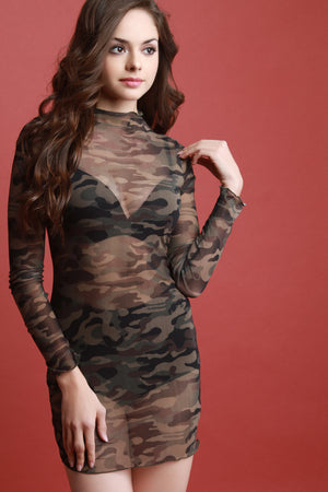 Camouflage Mesh Long Sleeve Mini Dress