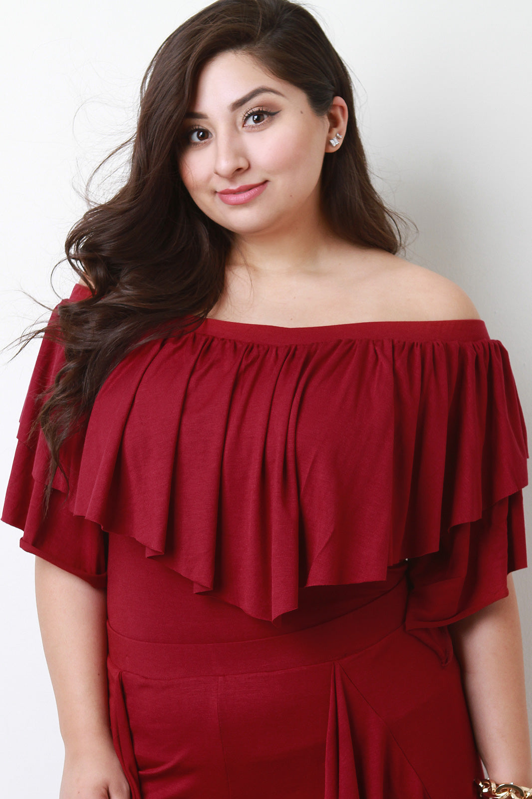 Felicia Off The Shoulder Ruffle Tier Jersey Knit Top