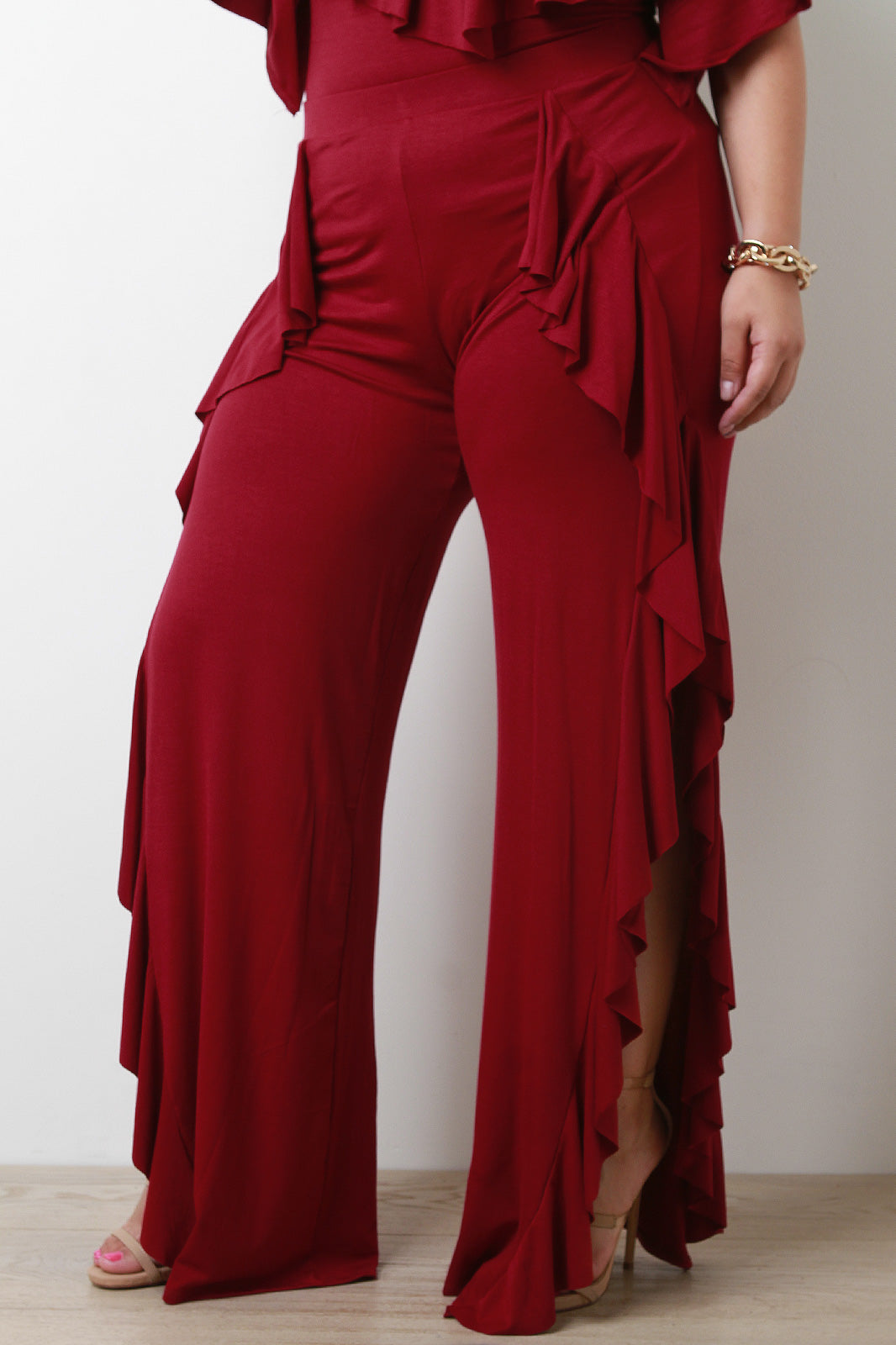Felicia Ruffle Accent Jersey Knit Wide Leg Pants