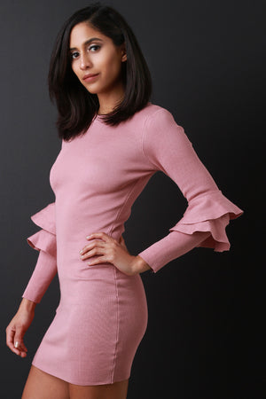 Tia Double Trumpet Sleeve Knitted Bodycon Dress