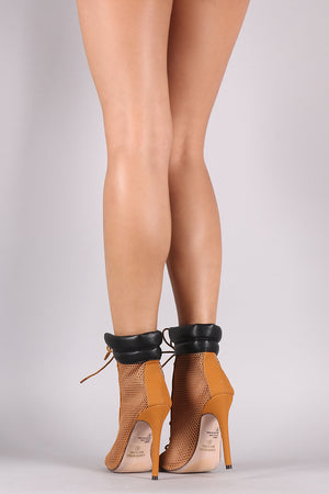 Tia Netted Mesh Nubuck Peep Toe Lace-Up Stiletto Booties