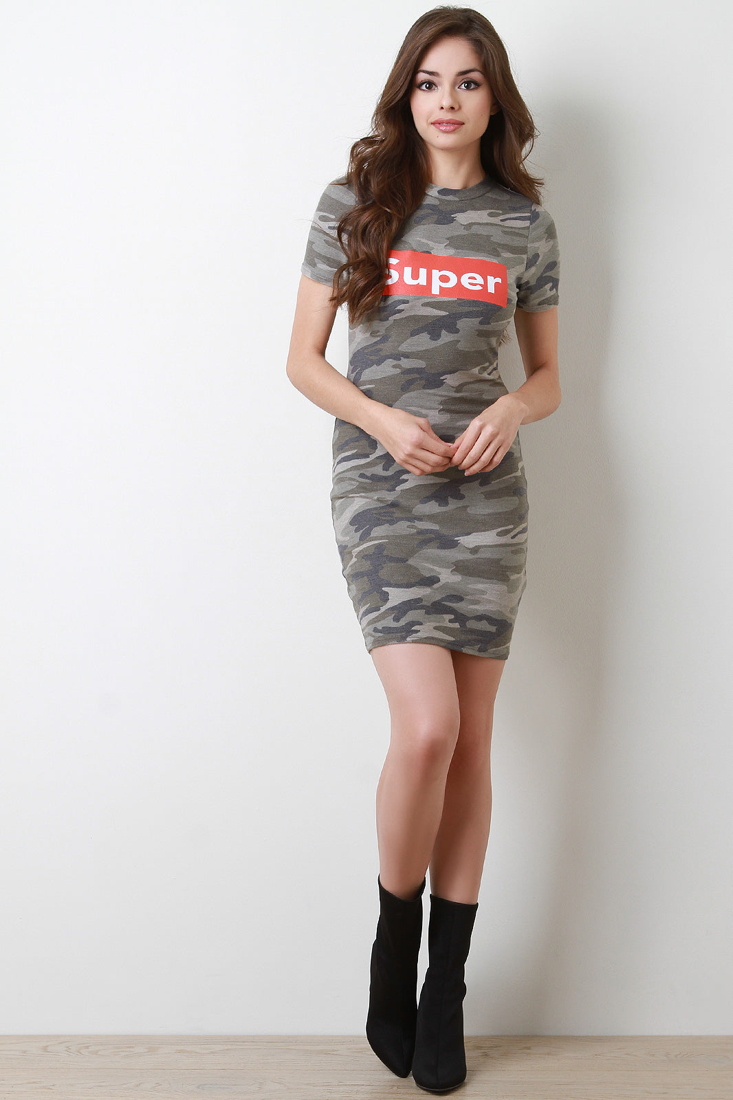 Olive Super Camouflage Bodycon Tee Dress