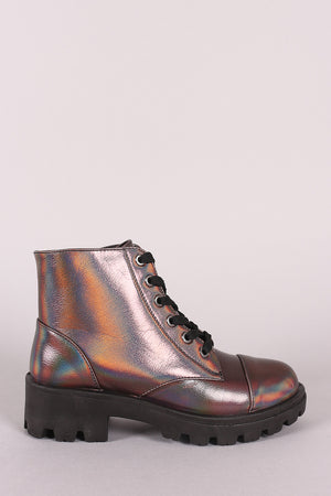 Lola Holographic Lace-Up Combat Ankle Boots