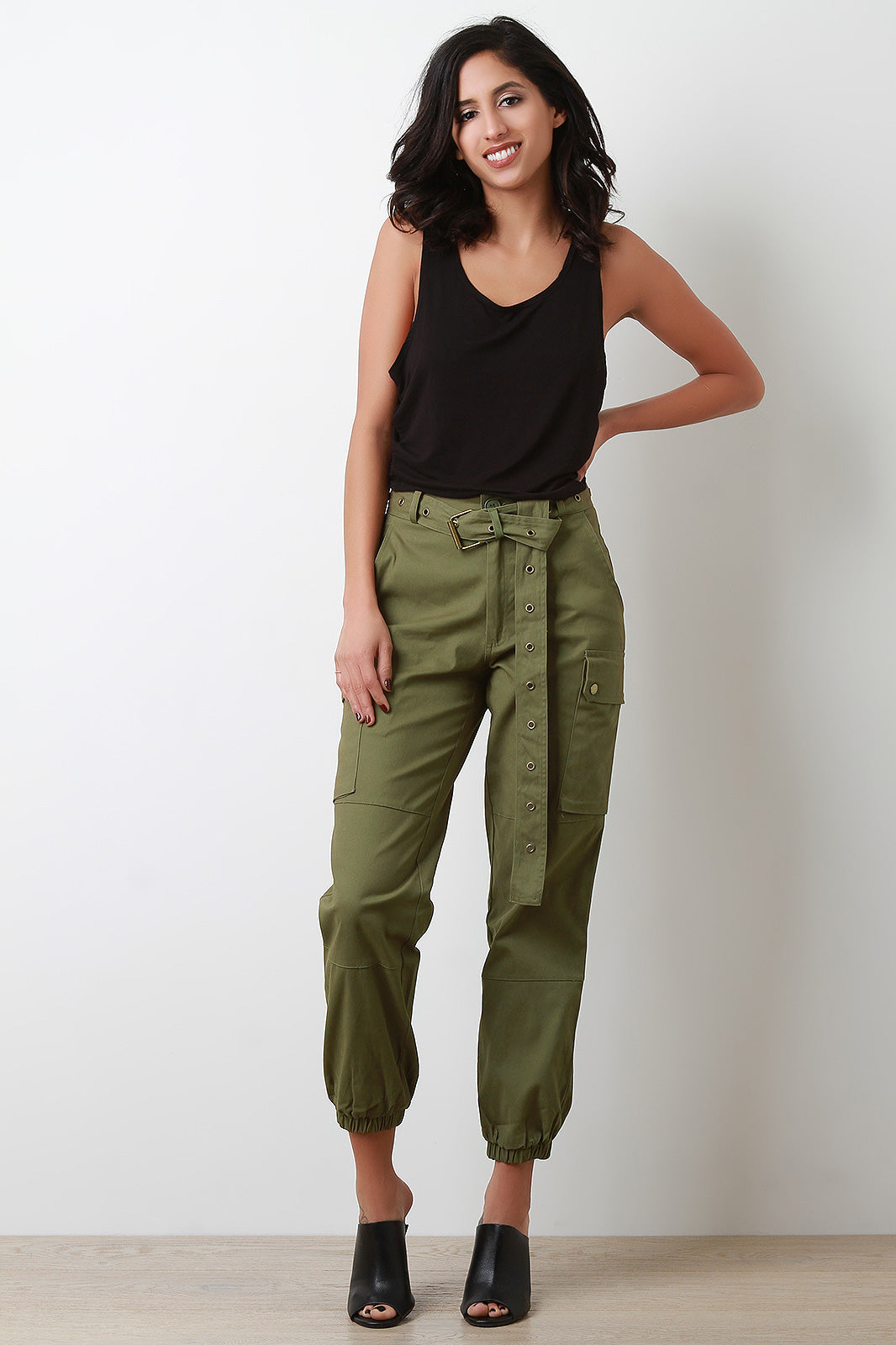 Tegan High Waist Eyelet Belted Cargo Pants