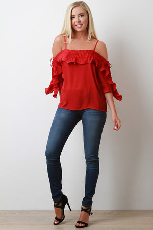 Joan Off The Shoulder Pleated Ruffled Tier Top