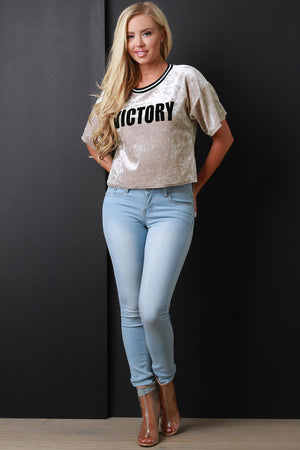 "Aubree ""Victory"" Crushed Velvet Boxy Top"