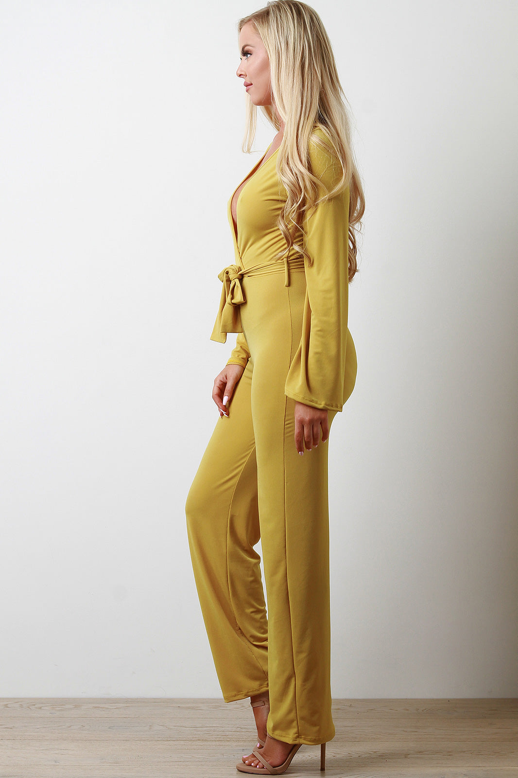 Summer Stretchy Surplice Waist Sash Jumpsuit