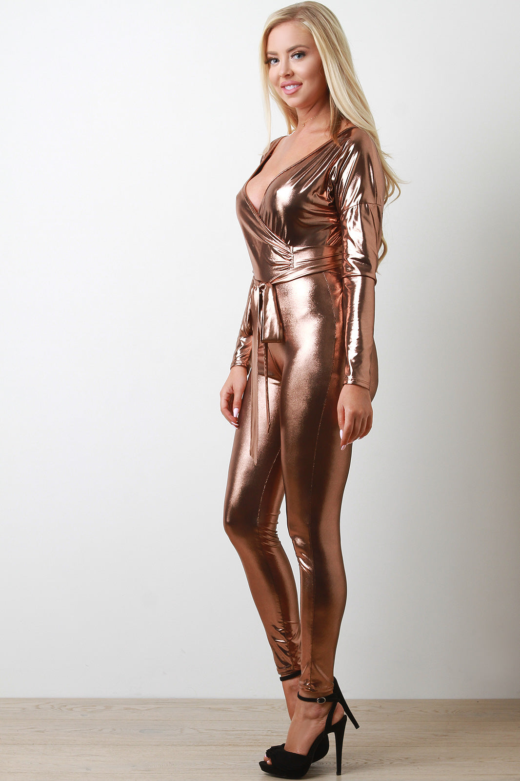 Paige Metallic Surplice Jumpsuit