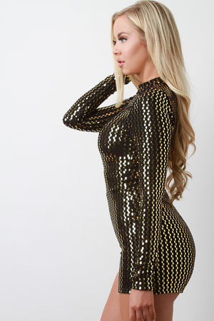 Peyton Metallic Sequin Mock Neck Long Sleeve Romper