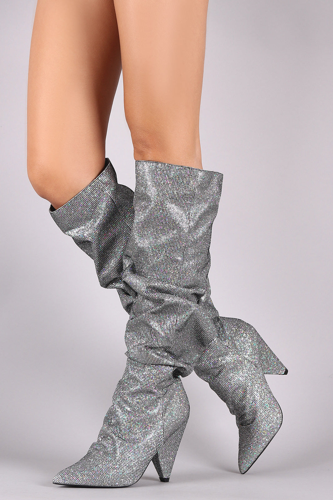 Kyra Slouchy Glitter Grid Pointy Toe Cone Heel Knee High Boots