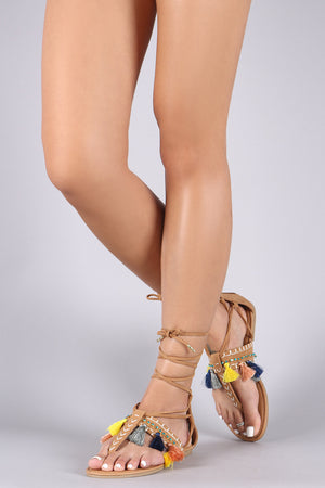 Anastasia Suede Jewel And Tassel Accent Lace Up Thong Flat Sandal