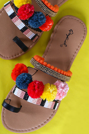Naomi Mixed Media Pom Pom Toe Ring Flat Sandals