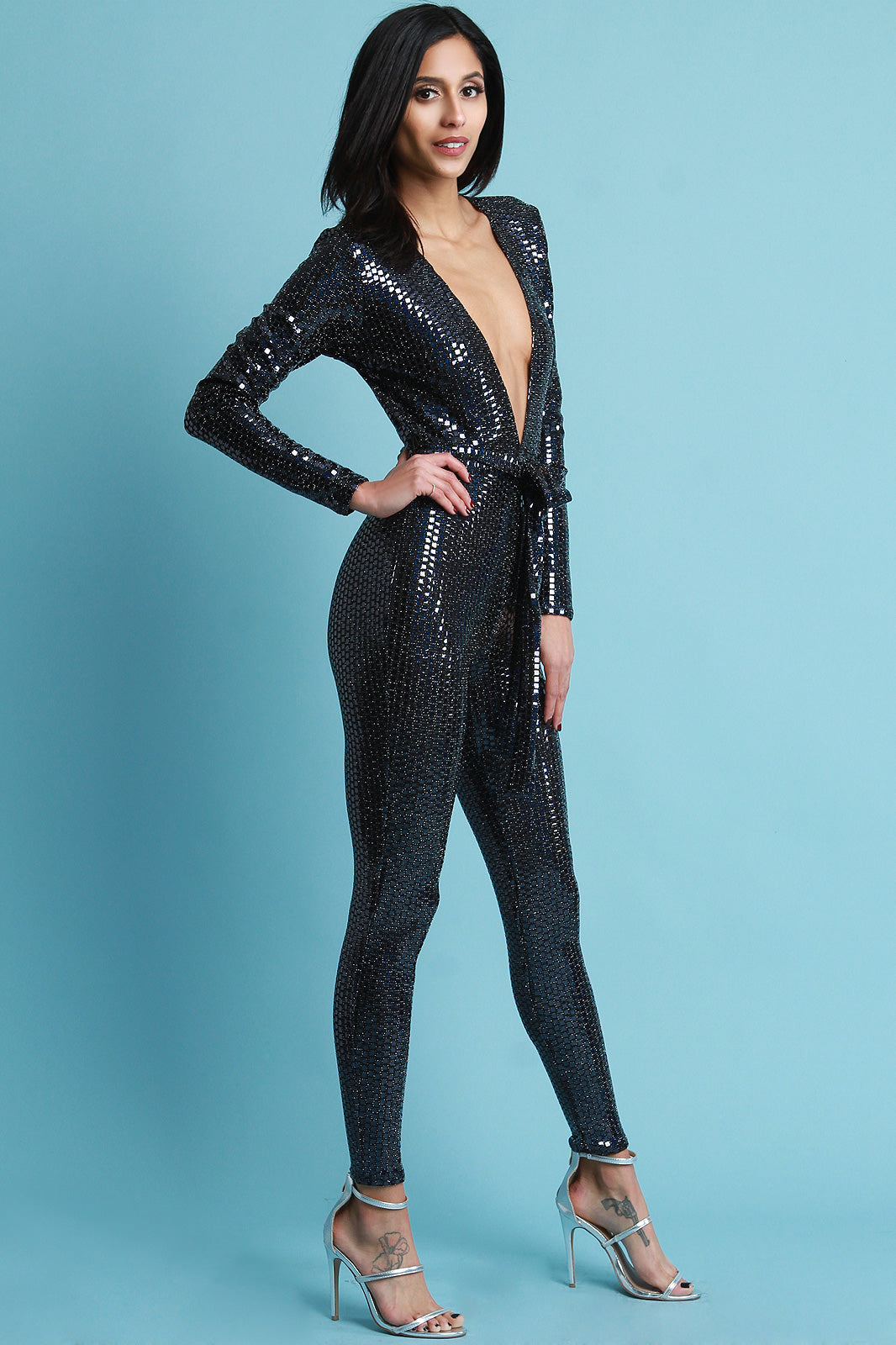 Monet Deep V-Neck Holographic Jumpsuit