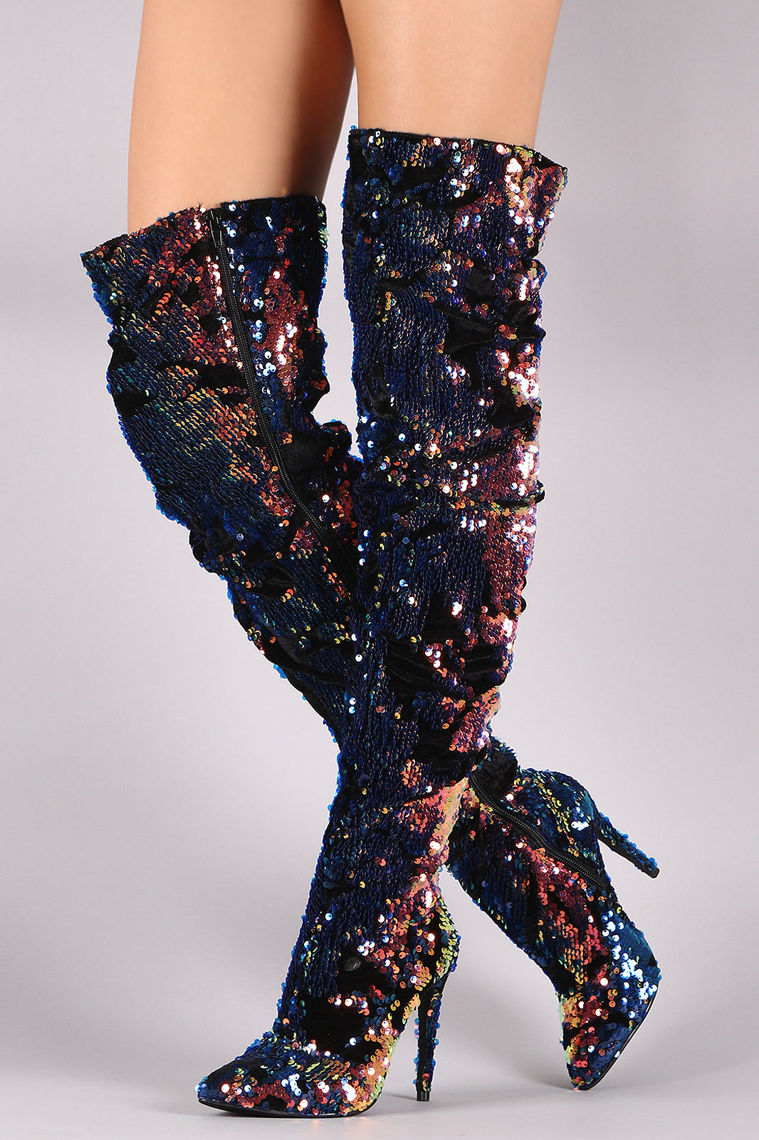 Liliana Holographic Sequin Velvet Slouchy Stiletto Over-The-Knee Boots