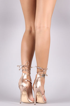 Elise Metallic Leather Lace-Up Clear Band Open Toe Heel