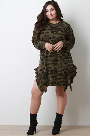 Olive Camouflage Side Ruffle T-Shirt Dress