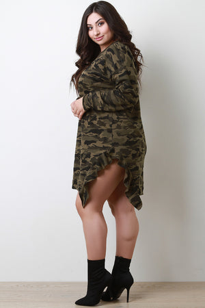 Olive Camouflage Side Ruffle T-Shirt Dress Side View