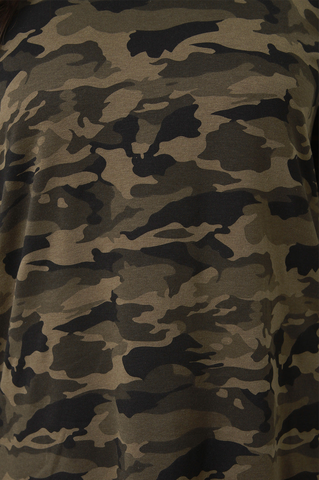 Olive Camouflage Side Ruffle T-Shirt Dress Close Up