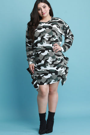Light Camouflage Side Ruffle T-Shirt Dress