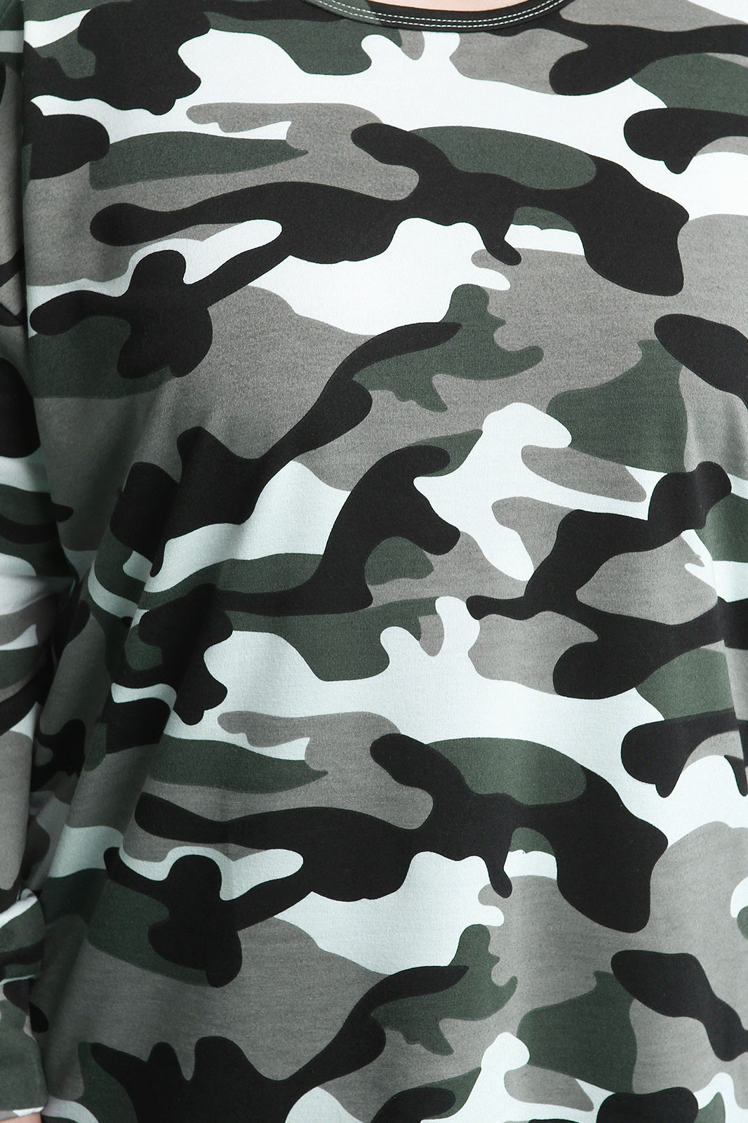 Light Camouflage Side Ruffle T-Shirt Dress Close Up