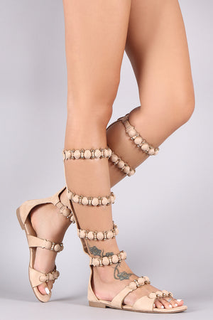 Mindy Suede Bullet And Button Accent Gladiator Flat Sandal