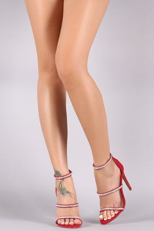 Brooklyn Suede Rhinestone Embellished Triple Straps Stiletto Heel