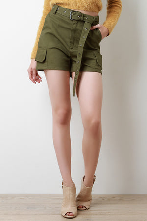 Ellen High Waist Eyelet Belted Cargo Shorts