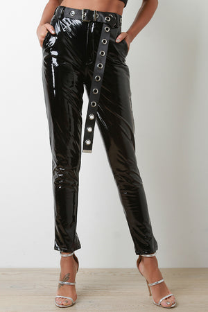 Towanda High Waist Latex Eyelet Belted Pants