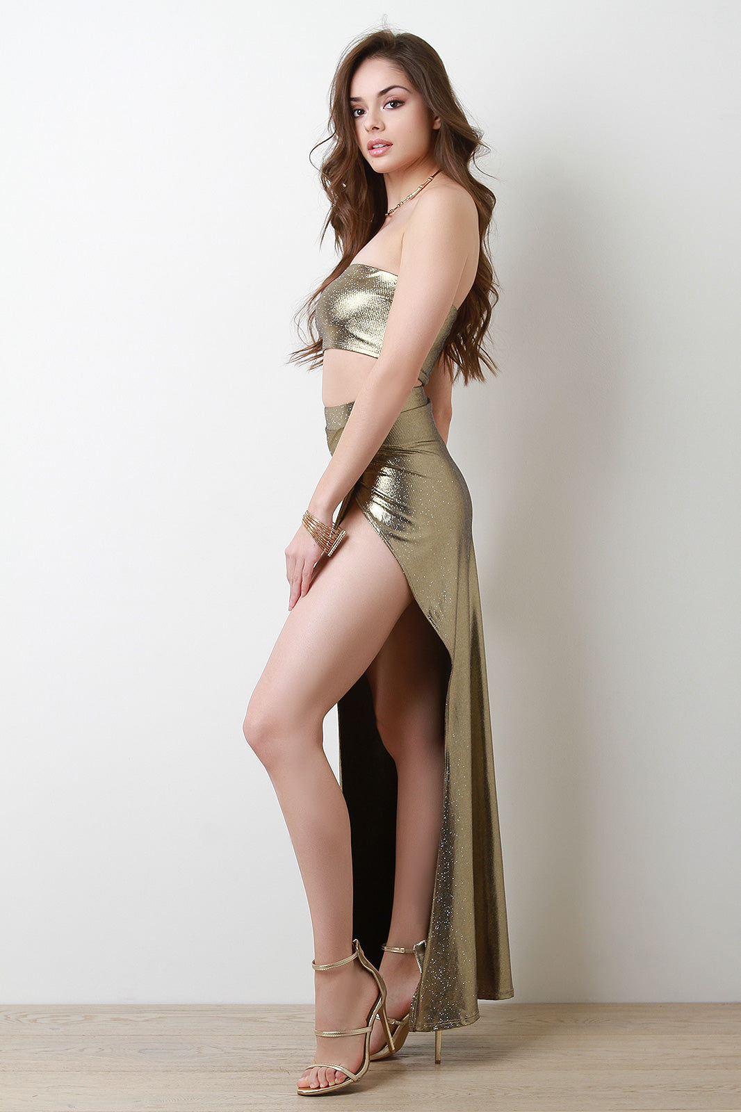 Metallic Glitter Bandeau Top With Maxi Skirt Set Side View