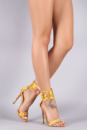 Valencia Floral Satin Ankle Cuff Single Sole Stiletto Heels