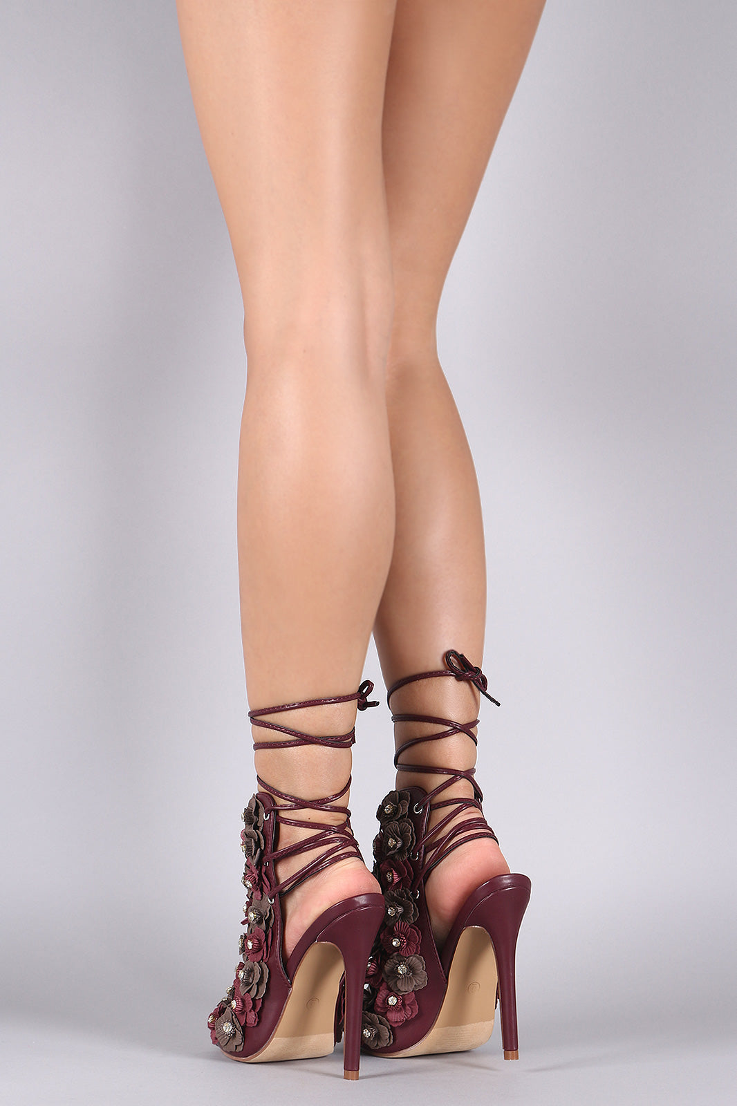 Monica Floral Applique Back Lace-Up Stiletto Mule Heel