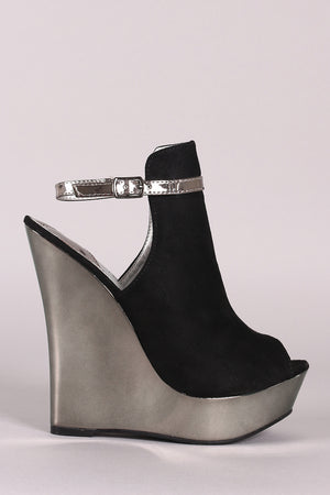 Tina Peep Toe Ankle Strap Mirrored Wedge Heels