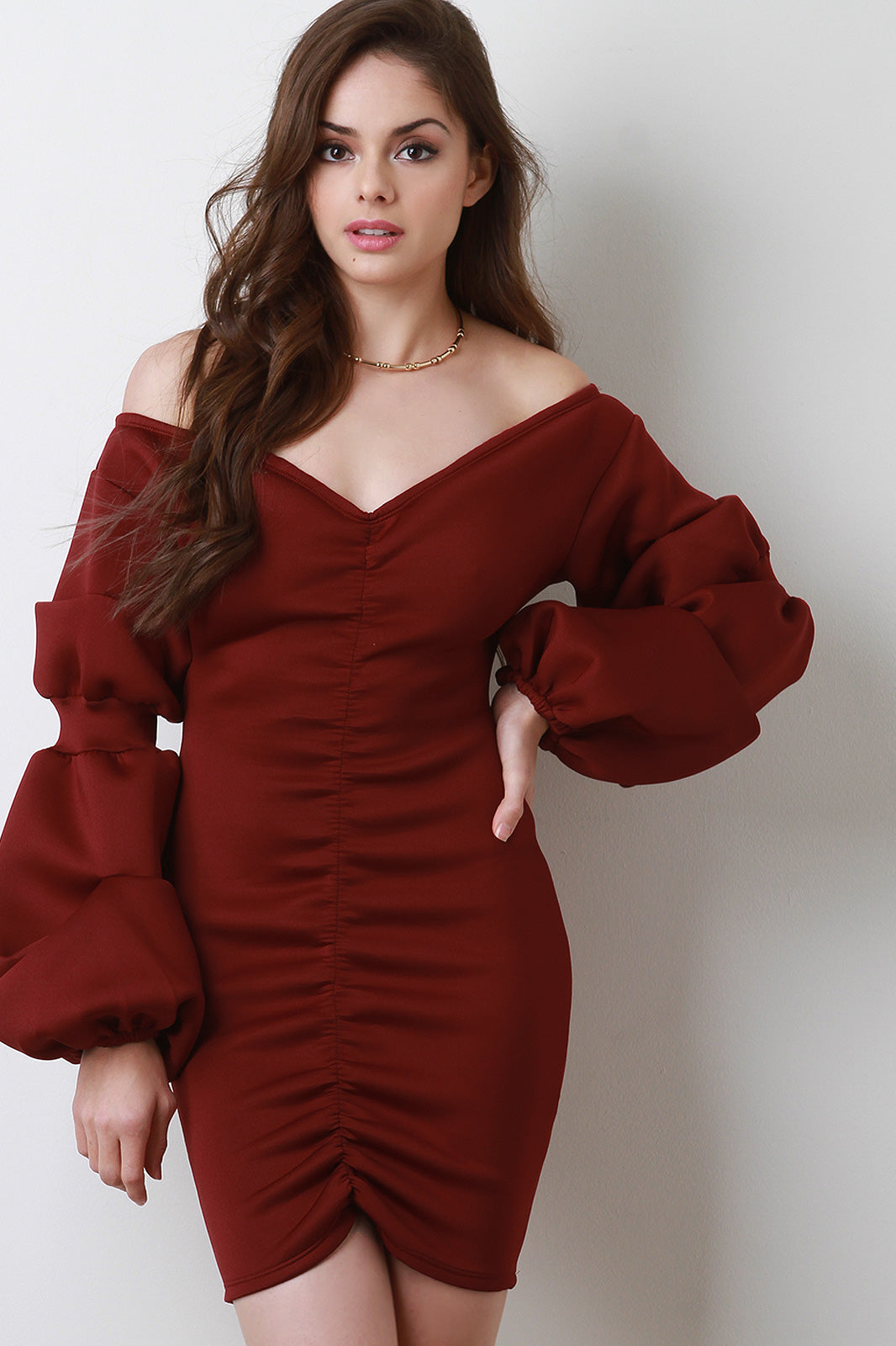 Toni Scuba Ruched Bishop Sleeves Off Shoulder V-Neck Cocktail Dress