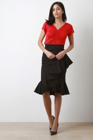 Cascading Raw Edge Ruffle Black Skirt Outfit