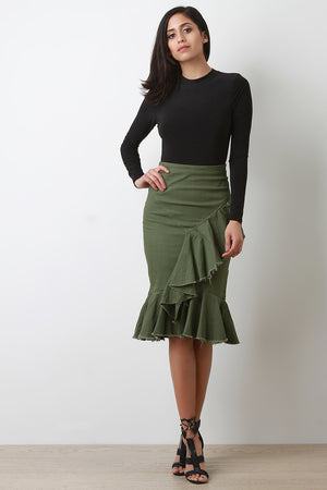 Cascading Raw Edge Ruffle Olive Green Skirt Outfit
