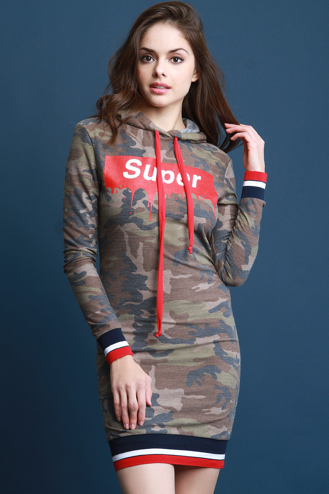 Olivia Camouflage Super Hoodie Sweater Dress