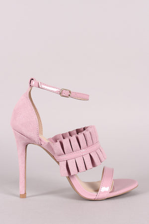 London Pleated Suede Ankle Strap Stiletto Heel - Blush