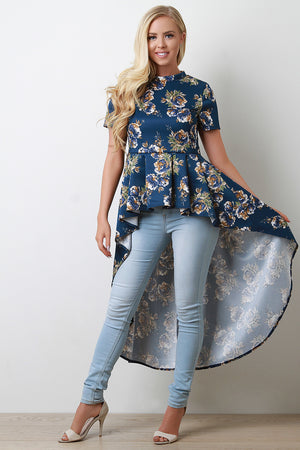 Ashley Short Sleeve Peplum High Low Top
