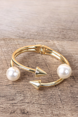 Spike with Pearls Cuff Bracelet