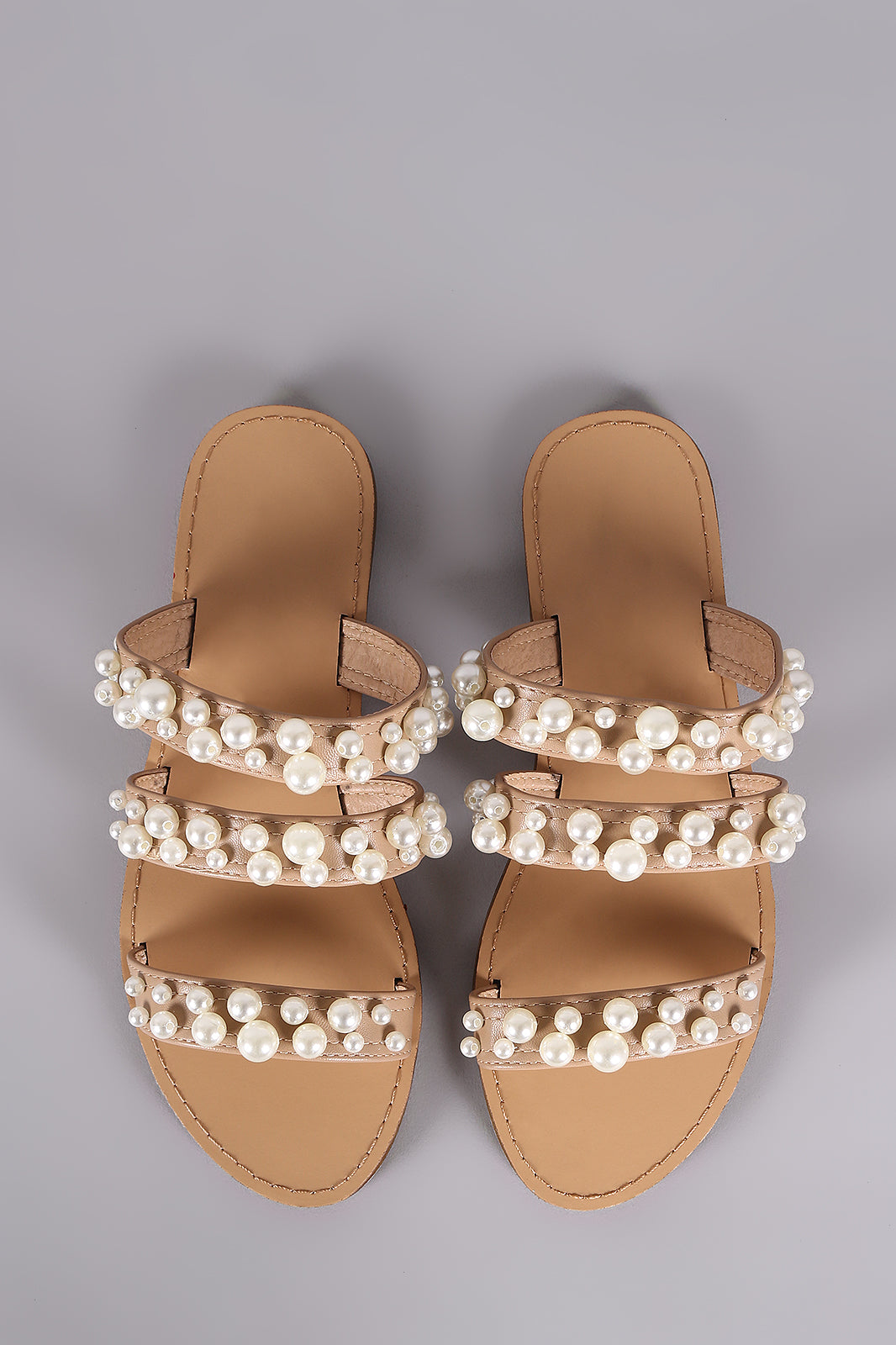 Willow Triple Straps Pearl Slide Sandals