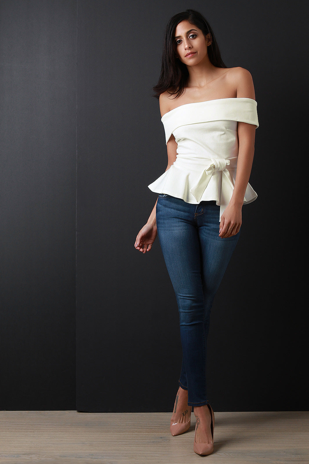 Penelope Bow Accent Off The Shoulder Peplum Top