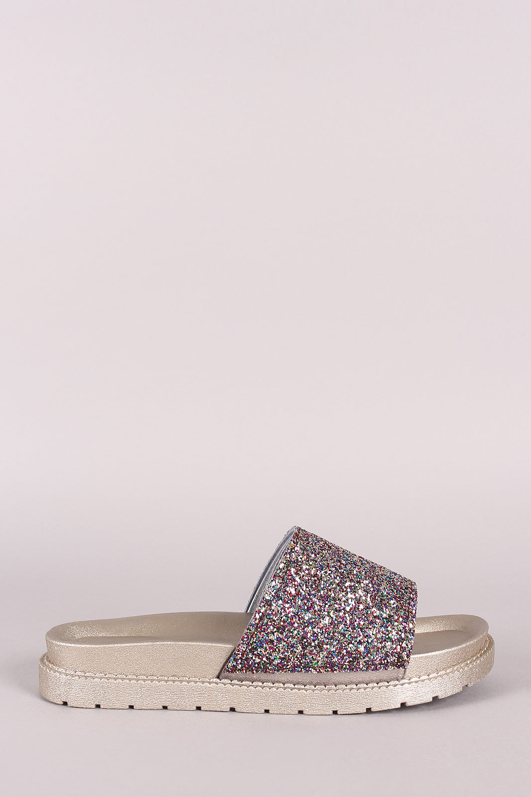 Jenna Open Toe Glitter Encrusted Band Flatform Slide Sandal