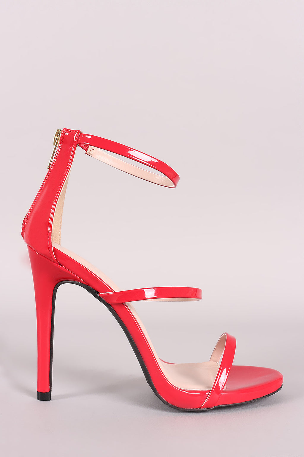 Contessa Patent Triple Strap Single Sole Heel