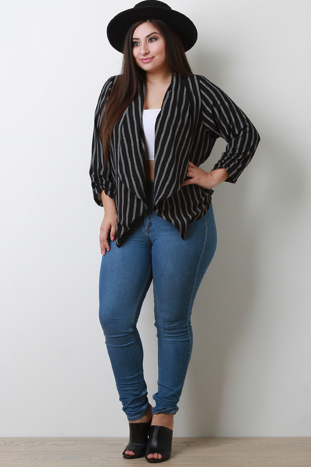 Evelyn Striped Crepe Collar Ruched Blazer