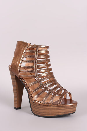 Halle Metallic Strappy Caged Open Toe Platform Heel