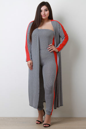 Ona Colorblocked Checker Cardigan Three Piece Set